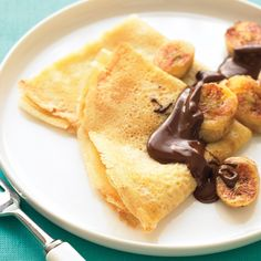 Crepes with Sauteed Bananas and Chocolate. This is a perfect dessert in summer. I sweat a lot in summer. With the sweat coming out of our body, we loose Potassium too. Banana is full of Potassium, a great fruit in summer.
