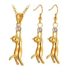 Fashion Cat Jewelry 18K Gold Plated Kitten Drop Earring Pendant Necklace Set -- You can get additional details at the image link. Note:It is Affiliate Link to Amazon.