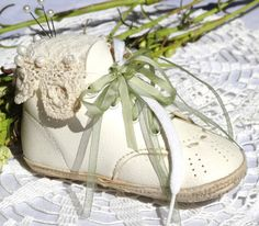 Pincushion White Baby Shoe with Vintage Lace by ButtonsBeadsBlooms, $35.00