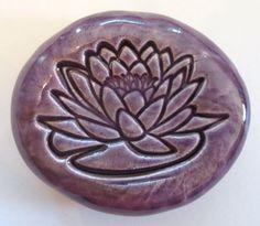 LOTUS BLOSSOM Pocket Stone  Ceramic  PURPLE Art by InnerArtPeace, $6.00