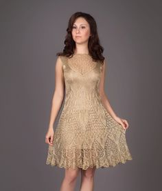 Golden metallic knitted dress, Lecrochet Art on etsy.