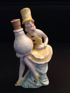 Beautiful German Lady Yellow Dress Perfume Bottle