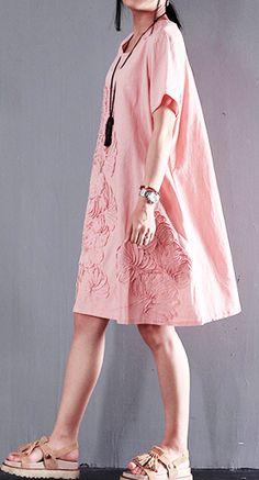 Pink Appliques linen summer shift dresses oversize short sleeve sundress