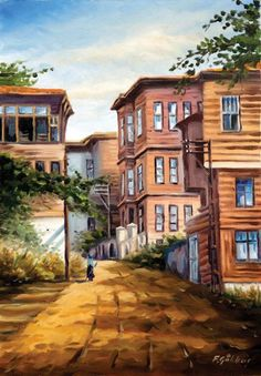Istanbul Paintings İST 026 – Kevser Poyi – Join in the world of pin Istanbul, Landscape Art, Landscape Paintings, Orient House, Acrylic Painting Inspiration, Pintura Exterior, Building Sketch, Pics Art, Country Landscaping