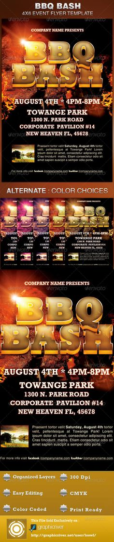 The BBQ Bash Event Flyer Template is sold exclusively on graphicriver, is great for any event, especially for spring and summer company parties and Grilling events. In this package you'll find 1 Photoshop file. 8 beautiful One-Click color options are included; you can even mix colors to get some surprising results! All layers are arranged, color coded and simple to edit. $6.00