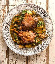 A recipe for braised pheasant with mushrooms and herbs. This recipe uses pheasant thighs, but wild turkey thighs work well, too. Wild Game Recipes, New Recipes, Recipies, How To Cook Pheasant, Pheasant Recipes, Chicken Thighs Mushrooms, Venison Recipes, Fish And Meat, Food Goals