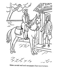 Early American Society Coloring Page US states Pinterest