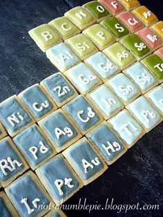 periodic table cookies. square cookies with frosting detail to convert to elements. easier than cupcakes.