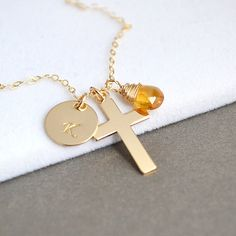 Personalized Cross Necklace, Cross Initial Necklace, Gold Cross Necklace, Personalized Birthstone Necklace
