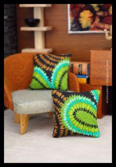 Modern Dollhouse Decorator Throw Pillows Cushions by AtomicBlythe