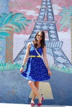 Faux Paris What better way to have celebrated Bastille Day other than visiting the Eiffel Tower yesterday?! This playful mural was the perfect backdrop for my bird dress (yes, more...