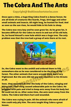 This is one of the best animal moral stories in English for kids. Full story in link above, read now. English Moral Stories, Short Moral Stories, English Story, Kids English, 8fact, King Cobra, Stories For Kids, Ants, Storytelling