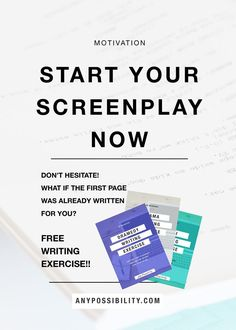 Don't put it off! Start your screenplay now! Feel stuck or unsure of where to start? Use this FREE writing exercise to get a jumpstart. The first page of your screenplay is written for you. Check it out by clicking through the image above to the full post! Screenwriting | Filmmaking | Screenplay