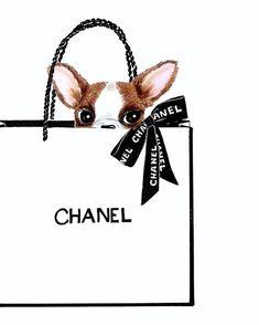 Shopping Bag- Frenchie Fashion Illustration Print - Custom Pet Portrait - Dog Mom Gift - Pet Art - Dog Lover Sketch - -PEEK-A-BOO! Art Mural Fashion, Fashion Art, Dog Fashion, Sketch Fashion, Woman Fashion, Pink Fashion, Chanel Decoration, Chanel Dekor, Art Chanel
