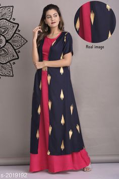 Kurta Sets Women Rayon Crop Top Kurti Solid Long Kurti With Palazzos Fabric: Rayon Sleeves: Top - Sleeves Are Not Included Jacket - 3/4 Sleeves Are Included  Size: Jacket - S - 38 in M - 40 in L - 42 in XL - 44 in XXL - 46 in  Palazzo - S - 28 in M - 30 inL - 32 in XL - 34 in XXL - 36 in Length: Jacket - Up To 50 in Palazzo - Up To 38 in Type: Stitched Description: It Has 1 Piece Of Top 1 Piece Of Jacket & 1 Piece Of Palazzo Work: Jacket - Printed Palazzo - Solid  Top - Solid Country of Origin: India Sizes Available: S, M, L, XL, XXL   Catalog Rating: ★4.2 (8630)  Catalog Name: Women Rayon Crop Top Kurti Printed Long Kurti With Palazzos CatalogID_266890 C74-SC1003 Code: 525-2019192-7431