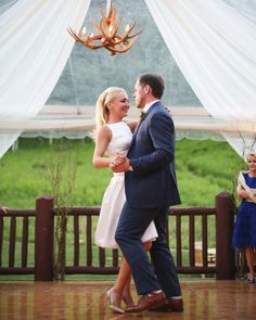 """Stacey and Eric danced to a slowed-down version of """"Wagon Wheel"""" by Old Crow Medicine Show and then surprised guests by picking up the tempo and inviting everyone to join them on the dance floor."""
