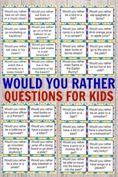 would you rather questions for kids ~ would you rather questions for kids . would you rather questions for kids fun . would you rather questions for kids hard . would you rather questions for kids free . would you rather questions for kids fall Learning Activities, Toddler Activities, Kids Learning, Icebreaker Games For Kids, Charades For Kids, Printable Games For Kids, Family Fun Activities, Activities For 6 Year Olds, Fun Worksheets For Kids