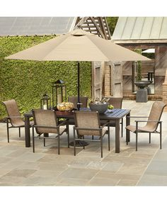 Hampton bay spring haven brown 5 piece patio dining set for Belmont brown wicker patio chaise lounge