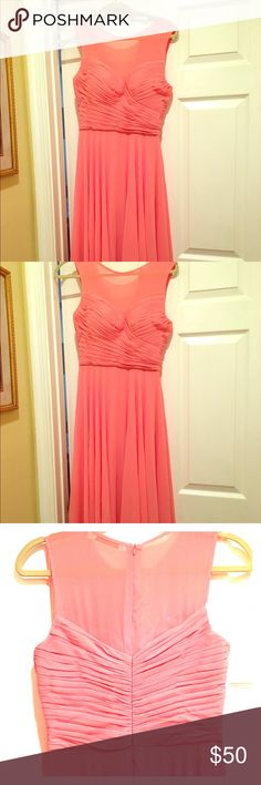 NWOT Salmon Coral Peach Pink full lgth Gown size 4 NEW!!!! Never worn! Bridesmaid dress or Evening Gown. I am 5'5, 130lbs, 34D this fits like a size 4 (but its sized as a 6). Very elegant and classic. Mesh top detail and pleated bust with sweetheart cut. Flowy layered and full skirt. Not too thick not too thin material, just right. With 3inch heels I do not need it hemmed. No trades, sorry! ssyiz Dresses Prom