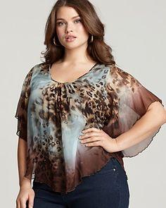85d4cec6fce Karen Kane Plus Size Animal Print Silk Top Plus Size Casual