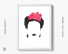 Frida Kahlo Print, Illustration, Minimalist Design, Frida Kahlo Art Poster, Printable Frida Kahlo Decor, Wall Art, Silhouette Art by BlekPrints on Etsy