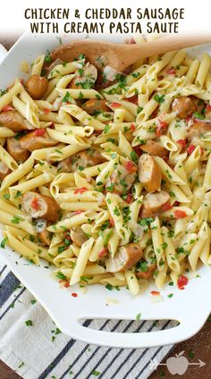 Chicken & Cheddar Sausage with Creamy Pasta