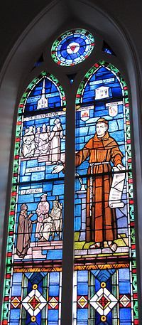 The Reformation window at St. Matthew's German Evangelical Lutheran Church in Charleston, South Carolina depicts key events in the Protestant Reformation.