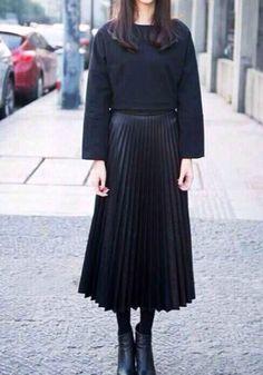 PU Midi Pleated Skirt