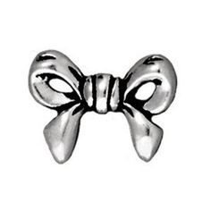 0580-bow-sp Silver Plated Bow Bead (Package of 2 beads)