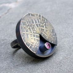 Isueszabo - Pink Sapphire Ring.  Textured Sterling Silver.