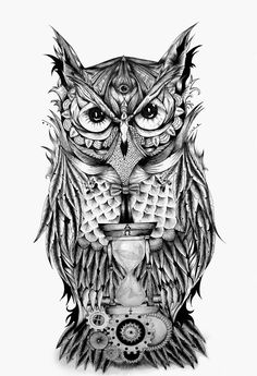 "rawbdz:  The Owl's Time by Stefano D'Andrea The Owl's Time"" is a project that begins, as most of my works, from a doodle on paper and it has a particular meaning; indeed the gothic owl has a third eye, which means omniscience and gives to the owl an almost divine trait. In front of the Owl, there"