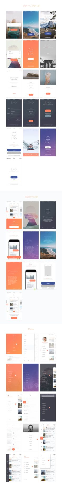 LIVO UI KIT Mobile UI Kit   LIVO UI KIT is a modern, stylish, and intuitive kit for creating your app ! It's a huge UI Kit made with Sketch. LIVO contains more than 210 elaborate mobile screens...
