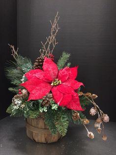 Small Christmas Bushel 2016 by Andrea Coffee Table Centerpieces, Christmas Table Centerpieces, Small Centerpieces, Christmas Mugs, Christmas Colors, Christmas Time, Christmas Crafts, Outside Christmas Decorations, Christmas Wreaths
