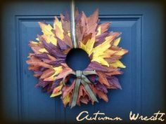 Fall Autumn Wreath [Easy and budget friendly!] :  wedding autumn brown ceremony diy fall flowers gold leaves orange red wreath yellow Downsized 0905001732