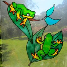 frog stained glass patterns free | green tree frog Suncatcher window sticker decal stained glass style ...