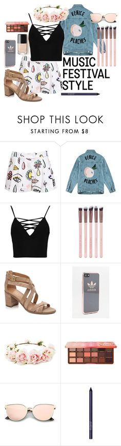 """""""Coachella Outfit"""" by soph13-13 ❤ liked on Polyvore featuring Moschino, Être Cécile, Boohoo, Luxie, adidas, Forever 21, Too Faced Cosmetics and Smashbox"""