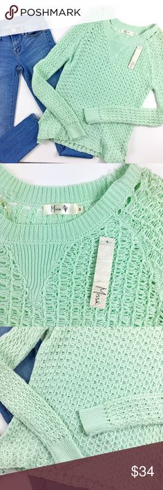 "Missa USA Sage Crochet Boat Neck Sweater Missa USA sage/mint green crochet boat neck sweater long sleeves and slim fit with split bottom hem size small length 25' bust 19"" sleeves 22' New without tags Missa Sweaters Crew & Scoop Necks"
