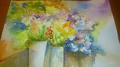 Pintar acuarelas: Mercado de flores