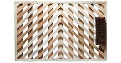Handmade Chevron White Pine Doormat - Made with sustainably harvested white pine hardwood in a V-shaped chevron design. Includes bristle brush for scraping boots. Handmade by a Vermont company since 1988.