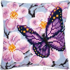 Подушка вышивки крестом подушки вышитые бабочки мальва Vervaco VE1200.122 - Дом Кружево и вышивки