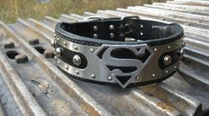 Hand Crafted Leather Dog Collars: Stainless Steel Superman Collar