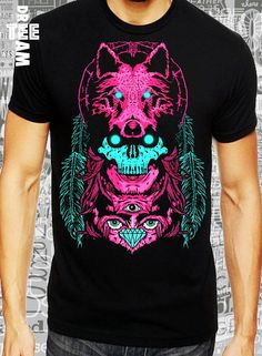 Indian wolf scull and owl image  print on white black by DreamTee