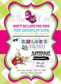 Alice in Wonderland Invitations  Customize by JustTheRightWords, $20.00