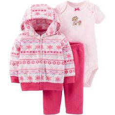 Child of Mine by Carter's Newborn Baby Girl Cardigan Set 3 Pieces, Size: 6 - 9 Months, Pink