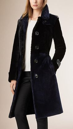 Burberry trench coat cut from warm shearling, with a smooth outer ...