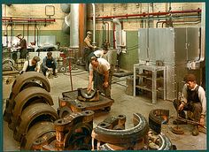 Photographs of the Sunderland Doxford Engine Works, from an album lent to the Doxford Engine Friends' Association. Doxford Engines were used to power large ships. The company was founded by William Doxford in Mechanical Workshop, Industrial Machinery, Naval History, Machine Tools, Sunderland, It Works, Engineering, Factories, Lathe