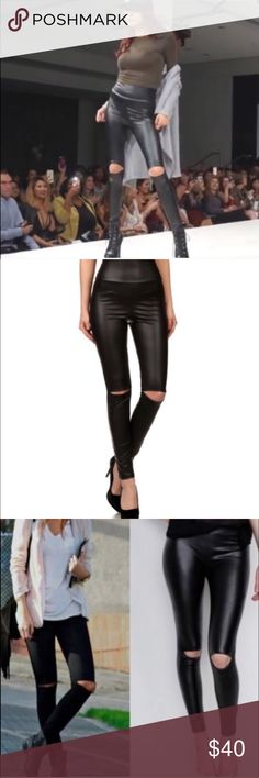 Split knee faux leather leggings! Split knee faux leather leggings. High waisted. Available in sizes S/M/L lots of stretch. Fits try to size. NWT. As seen at the Poshfest runway show! Pants Leggings