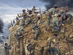 The art above is depicting the US Army Ranger's daring capture of Pointe-du-Hoc … – All Pictures Military Art, Military History, Diorama Militar, Company Of Heroes 2, Us Ranger, D Day Normandy, Normandy France, Us Army Rangers, Military Drawings