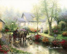 """Sunday Outing [1993] © Thomas Kinkade """"   Family traditions. A favorite of ours is the Sunday drive. After church we'll take off in the family car, often driving in California's Apple Hill country, where the neat orchards and charming old farm houses provide a comfortable reminder that families have been enjoying Sunday outings for a long time now."""""""