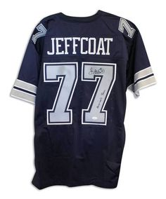 """Jim Jeffcoat Dallas Cowboys Autographed Navy Blue Throwback Jersey Inscribed """"""""Americas Team"""""""" with COA"""